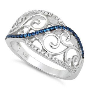 Sterling Silver Vines Blue Spinel CZ Ring