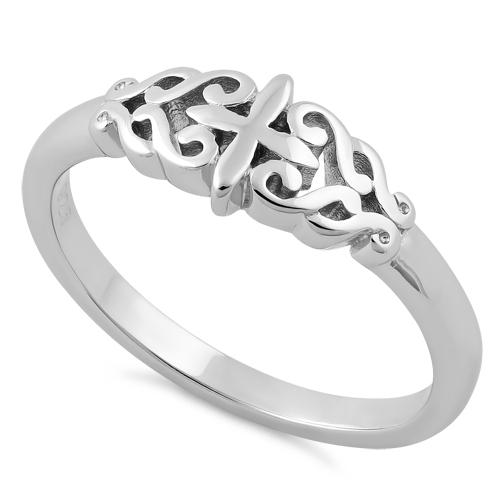 Sterling Silver Vines Cross Ring