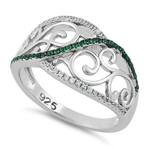 Sterling Silver Vines Emerald CZ Ring