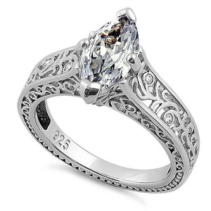 Sterling Silver Vines Filigree Maquise Cut Clear CZ Engagement Ring