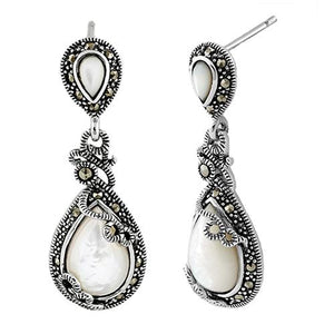 Sterling Silver Vines Tear Drop Mother of Pearl Marcasite Earrings