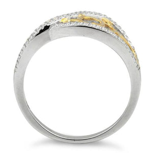 Sterling Silver Vines Two-tone Gold Plated CZ Ring