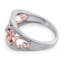 Load image into Gallery viewer, Sterling Silver Vines Two-tone Rose Gold Plated CZ Ring