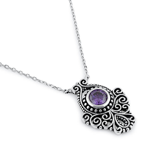 Sterling Silver Vintage Amethyst CZ Necklace