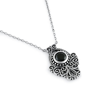 Sterling Silver Vintage Black CZ Necklace