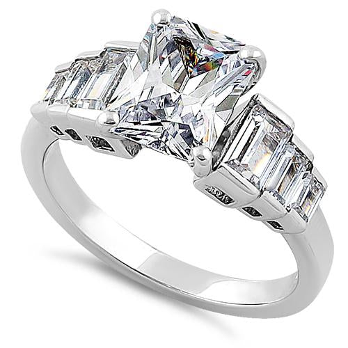 Sterling Silver Vintage Emerald Cut Engagement CZ Ring