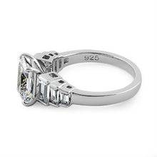Load image into Gallery viewer, Sterling Silver Vintage Emerald Cut Engagement CZ Ring