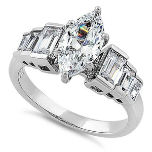 Sterling Silver Vintage Marquise Cut Engagement CZ Ring