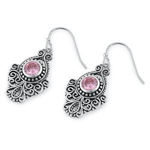 Sterling Silver Vintage Pink CZ Dangle Earrings