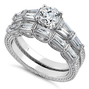 Sterling Silver Vintage Round & Baguette Cut Clear CZ Engagement Ring Set