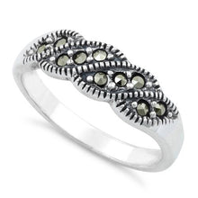 Load image into Gallery viewer, Sterling Silver Waves Marcasite Ring