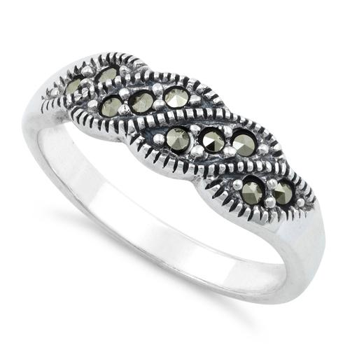 Sterling Silver Waves Marcasite Ring