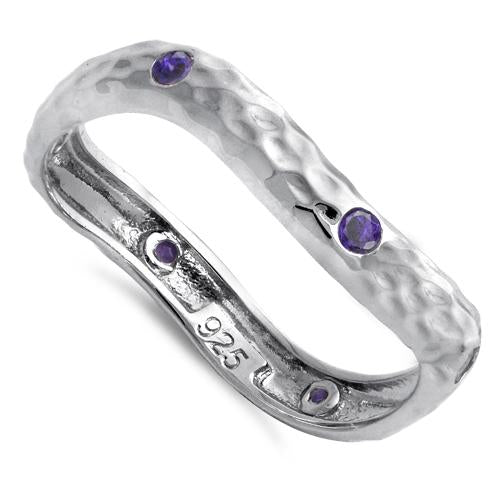 Sterling Silver Wavy Hammered Amethyst CZ Ring