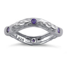 Load image into Gallery viewer, Sterling Silver Wavy Hammered Amethyst CZ Ring