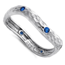 Load image into Gallery viewer, Sterling Silver Wavy Hammered Blue Spinel CZ Ring