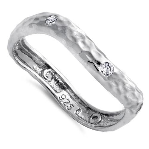 Sterling Silver Wavy Hammered Clear CZ Ring