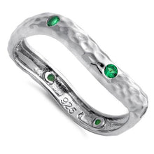 Load image into Gallery viewer, Sterling Silver Wavy Hammered Green CZ Ring