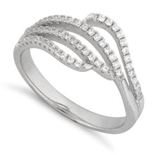 Load image into Gallery viewer, Sterling Silver Wavy CZ Ring