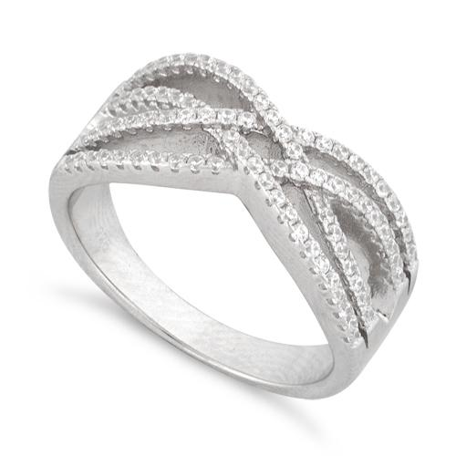 Sterling Silver Intertwined CZ Ring