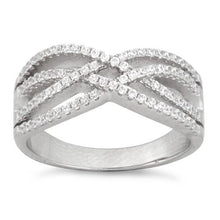 Load image into Gallery viewer, Sterling Silver Intertwined CZ Ring