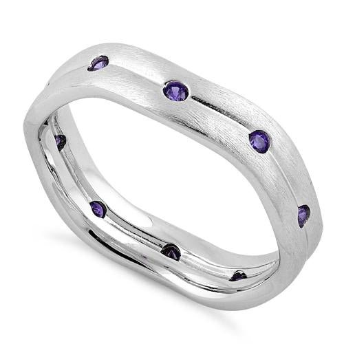 Sterling Silver Wavy Brushed Amethyst CZ Ring
