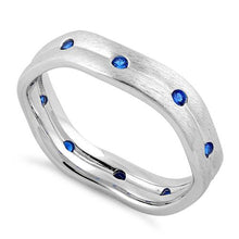 Load image into Gallery viewer, Sterling Silver Wavy Brushed Blue Sapphire CZ Ring