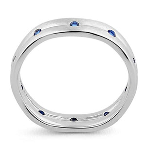 Sterling Silver Wavy Brushed Blue Sapphire CZ Ring