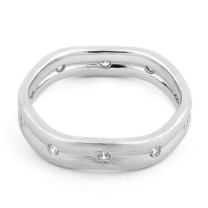 Sterling Silver Wavy Brushed Clear CZ Ring
