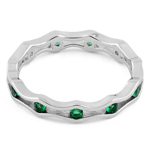 Sterling Silver Wavy Eternity Emerald CZ Ring