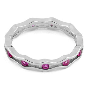Sterling Silver Wavy Eternity Pink CZ Ring