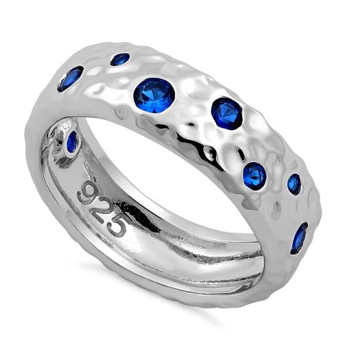 Sterling Silver Wavy Hammered Blue CZ Ring