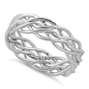 Sterling Silver Wavy Strings Braided Ring