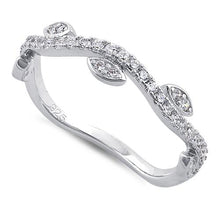 Load image into Gallery viewer, Sterling Silver Wavy Vines Clear CZ Ring