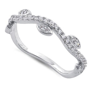 Sterling Silver Wavy Vines Clear CZ Ring