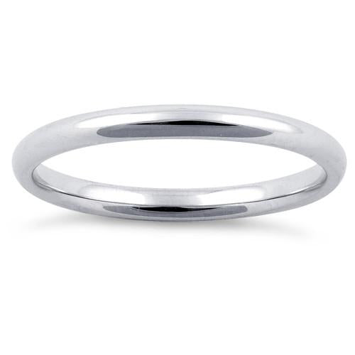 Sterling Silver Wedding Band Ring 2mm