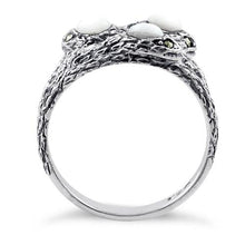 Load image into Gallery viewer, Sterling Silver Mother of Pearl Snakes Marcasite Ring