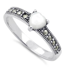 Load image into Gallery viewer, Sterling Silver Mother of Pearl Heart Marcasite Ring