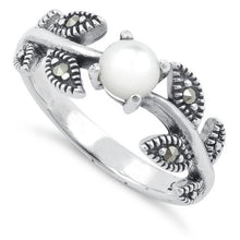 Load image into Gallery viewer, Sterling Silver Mother of Pearl Leaves Marcasite Ring