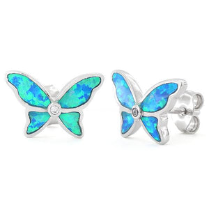 Sterling Silver Lab Opal Butterfly CZ Earrings