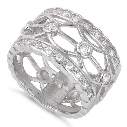 Sterling Silver Wide Cage CZ Ring