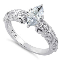Load image into Gallery viewer, Sterling Silver Wild Vines Marquise Cut Clear CZ Ring