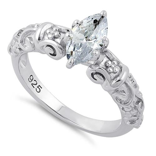 Sterling Silver Wild Vines Marquise Cut Clear CZ Ring