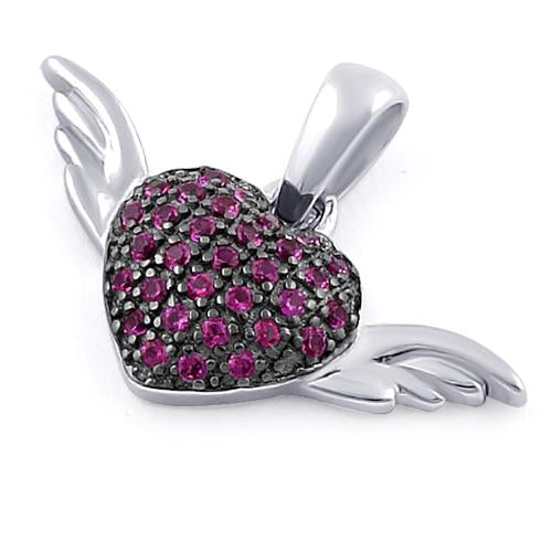 Sterling Silver Winged Heart Ruby CZ Pendant