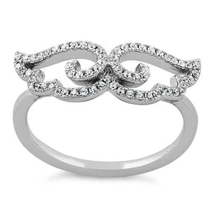 Sterling Silver Wings CZ Ring