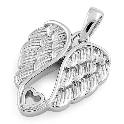 Sterling Silver Wings Heart Pendant