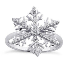Load image into Gallery viewer, Sterling Silver Winter Snowflake Clear CZ RIng