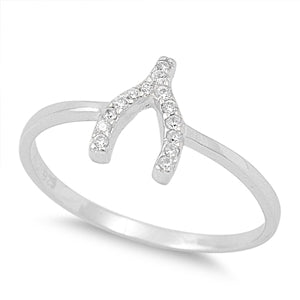 Sterling Silver Wish Bone CZ Ring