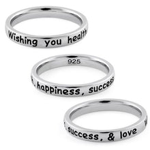 "Load image into Gallery viewer, Sterling Silver ""Wishing you health, happiness, success, & love"" Ring"