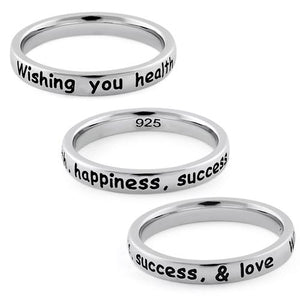 "Sterling Silver ""Wishing you health, happiness, success, & love"" Ring"
