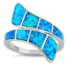 Load image into Gallery viewer, Sterling Silver Wrap Blue Lab Opal Ring